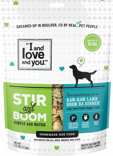 I and Love and You  Stir and Boom Homemade Dog Food   Raw-Raw Lamb Boom Ba Perspective: front