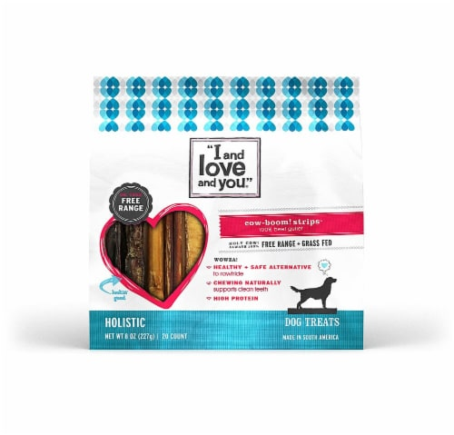 I and Love and You  Cow-Boom Strips Dog Treats    Beef Perspective: front