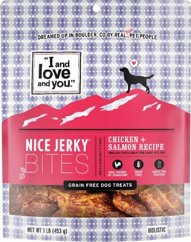 I and Love and You  Nice Jerky Bites Dog Treats    Chicken and Salmon Perspective: front