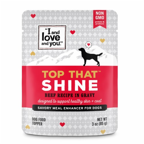 I and Love and You Top That Shine Beef Recipe in Gravy Meal Enhancer for Dogs Perspective: front