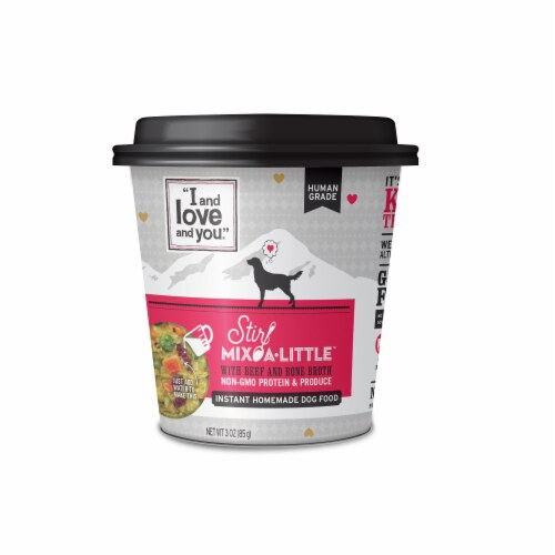 I and Love and You Stir Mix-A-Little Beef Homemade Dog Food Perspective: front