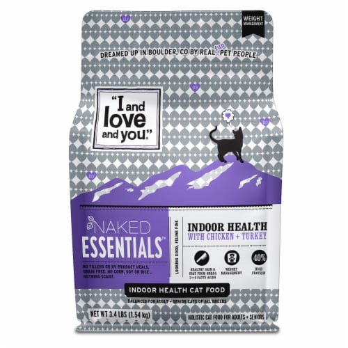 I and Love and You Naked Essentials Indoor Health Chicken + Turkey Dry Cat Food Perspective: front