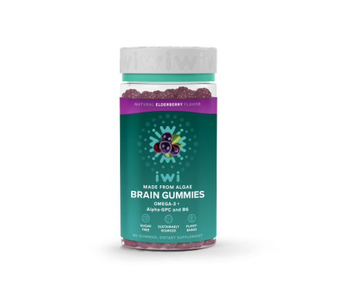 iWi Elderberry Omega - + Alpha-GPC and B6 Brain Gummies Perspective: front