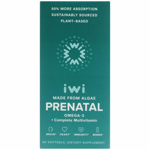 iwi Algae-Based Prenatal Omega-3 + Complete Multivitamin Perspective: front