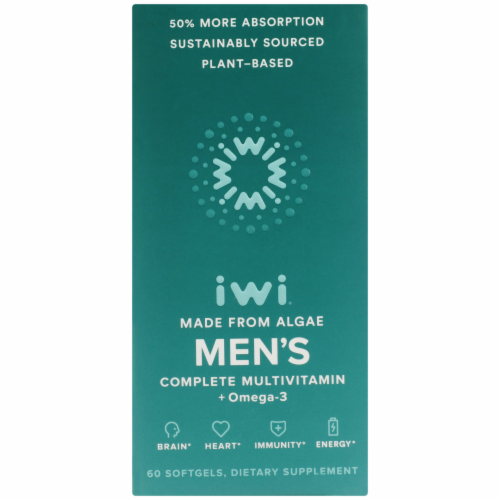 iWi Algae-based Men's Complete Multivitamin + Omega-3 Perspective: front
