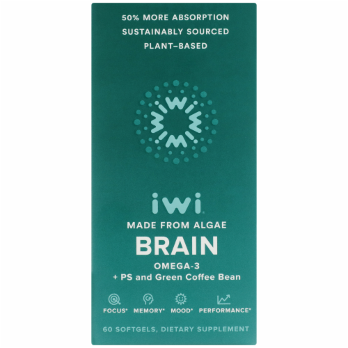 iWi Algae-Based Brain Omega-3 Supplement Perspective: front