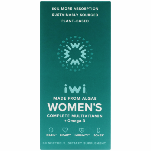 iWi Algae-Based Women's Complete Multivitamin + Omega-3 Perspective: front