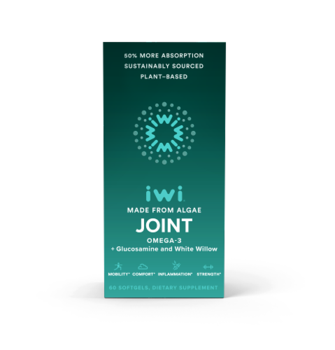 iwi Omega-3 + Glucosamine and White Willow Joint Health Softgels Perspective: front