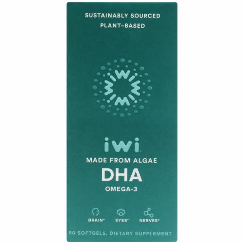 iWi Algae Based Omega 3 DHA Perspective: front