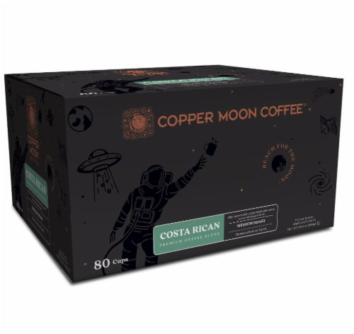 Copper Moon Medium Roast Costa Rican Blend Single Serve Coffee Pods Perspective: front