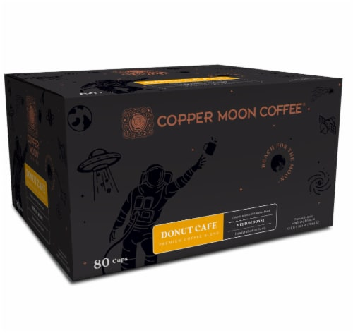 Copper Moon Coffee Donut Cafe Medium Roast Single Cups Perspective: front