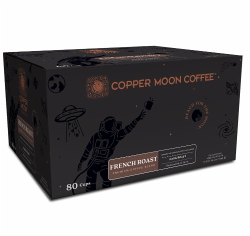 Copper Moon Dark French Roast Single Serve Coffee Pods Perspective: front