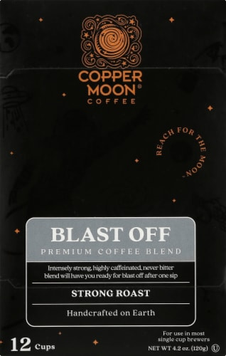 Copper Moon Blast Off Strong Roast Single Serve Coffee Cups Perspective: front