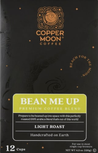 Copper Moon Bean Me Up Light Roast Single Serve Coffee Pods Perspective: front