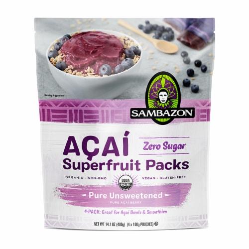 Sambazon Pure Unsweetened Acai Berry Superfruit Packs Perspective: front