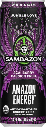 Sambazon Organic Amazon Acai Berry Passion Fruit Jungle Love Energy Drink Perspective: front