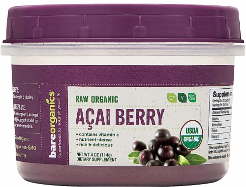 BareOrganics  Acai Berry Powder Raw Perspective: front