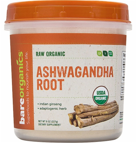 BareOrganics Aswagandha Root Powder Dietary Supplement Perspective: front