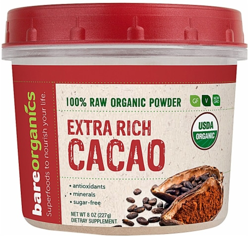 Bare Organics Extra Rich Raw Cacao Powder Perspective: front