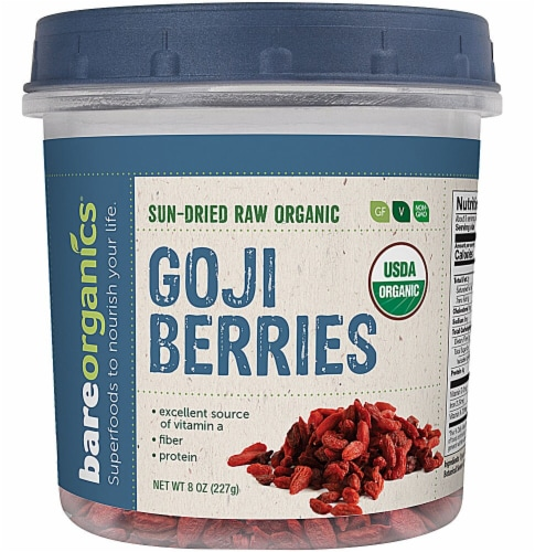 BareOrganics Raw Sun-Dried Goji Berries Perspective: front