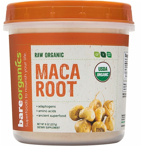 BareOrganics Maca Root Powder Dietary Supplement Perspective: front
