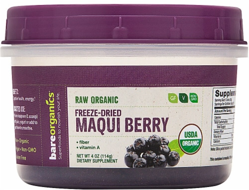 BareOrganics  Maqui Berry Powder Freeze-Dried Raw Perspective: front