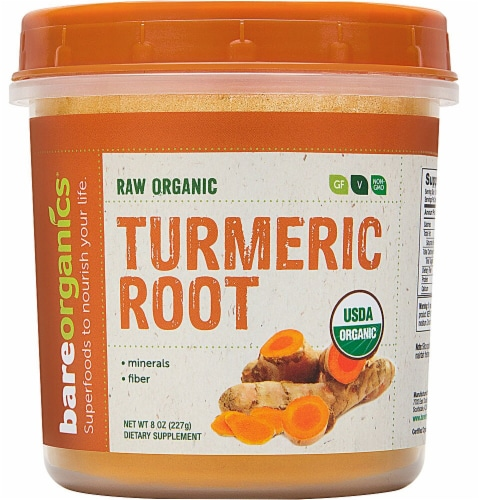 BareOrganics Turmeric Root Powder Dietary Supplement Perspective: front
