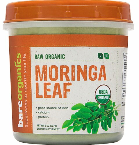 BareOrganics Moringa Leaf Powder Dietary Supplement Perspective: front
