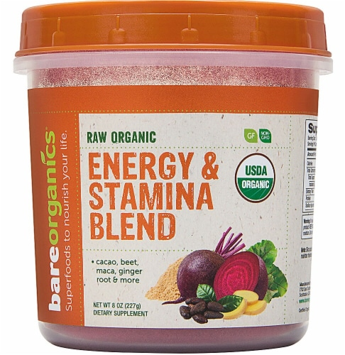 BareOrganics Energy & Stamina Blend Dietary Supplement Perspective: front