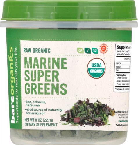 BareOrganics Marine Super Greens Raw Powder Perspective: front