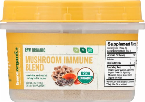 BareOrganics Raw Mushroom Immunity Blend Supplement Perspective: front
