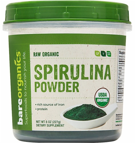 BareOrganics Raw Spirulina Powder Perspective: front