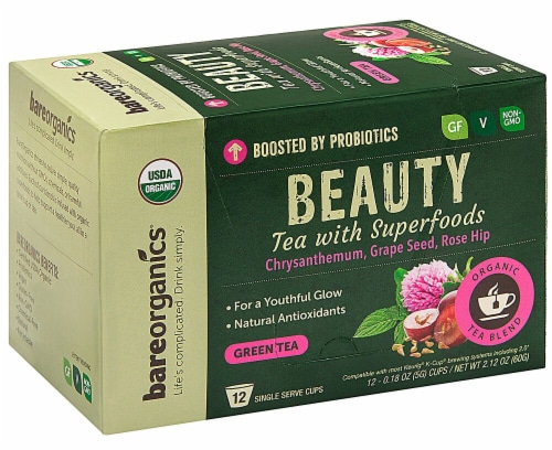 BareOrganics Beauty Green Tea Single Serve Cups Perspective: front