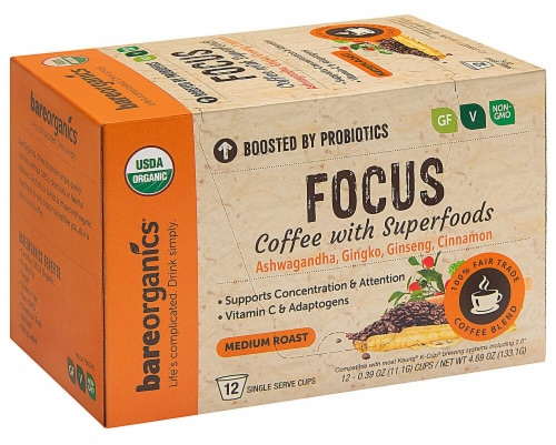 BareOrganics Focus Coffee with Superfoods Medium Roast Single Serve Cups Perspective: front