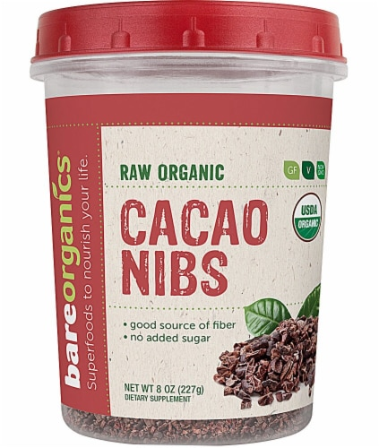 BareOrganics Raw Cacao Nibs Perspective: front