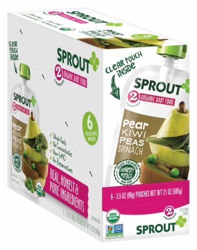 Sprout Pear Kiwi Peas Spinach Stage 2 Organic Baby Food 6 Count Perspective: front