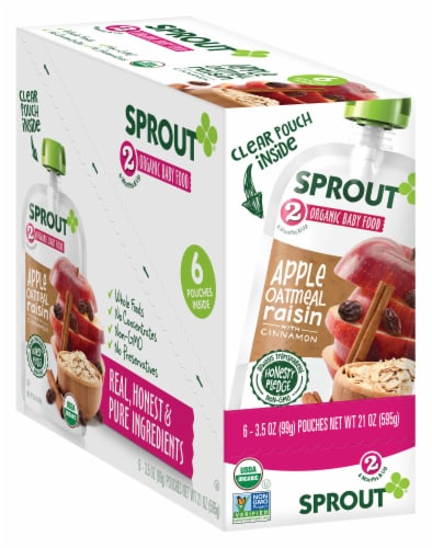 Sprout Organic Apple Oatmeal Raisin with Cinnamon Stage 2 Baby Food Perspective: front