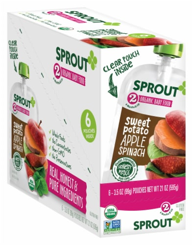 Sprout Sweet Potato Apple Spinach Stage 2 Baby Food Perspective: front