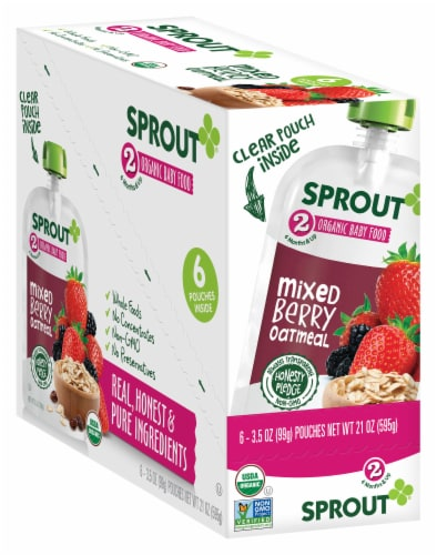 Sprout Organic Mixed Berry Oatmeal Stage 2 Baby Food Perspective: front