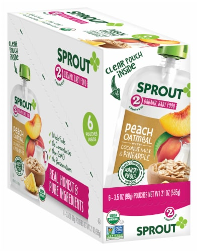 Sprout Peach Oatmeal Coconut Milk Pineapple Inner Stage 2 Baby Food 6 Count Perspective: front