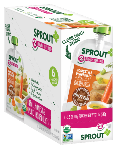 Sprout Homestyle Vegetables & Pear Seasoned with Chicken Broth Stage 2 Baby Food 6 Count Perspective: front