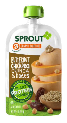 Sprout Organic Butternut Chickpea Quinoa & Dates Stage 3 Baby Food Perspective: front