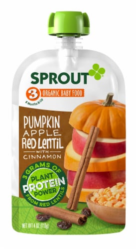 Sprout Organic Pumpkin Red Apple Lentil & Cinnamon Stage 3 Baby Food Perspective: front