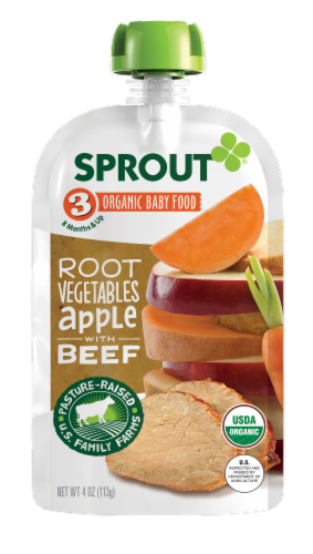 Sprout Organic Root Vegetables & Apple with Beef Stage 3 Baby Food Perspective: front