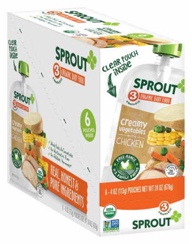 Sprout Organic Creamy Vegetables with Chicken Stage 3 Baby Food Perspective: front