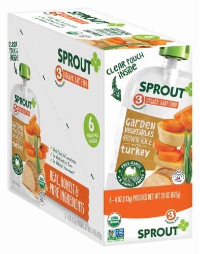 Sprout Organic Garden Vegetables Brown Rice Turkey Stage 3 Baby Food Perspective: front