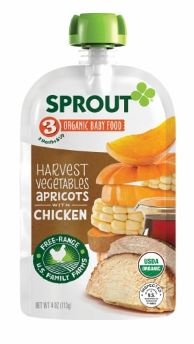 Sprout Organic Harvest Vegetables & Apricots with Chicken Stage 3 Baby Food Pouch Perspective: front