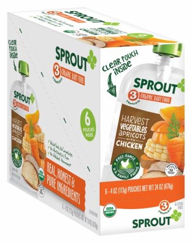 Sprout Organic Harvest Vegetables Apricot & Chicken Stage 3 Baby Food Perspective: front