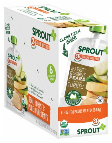 Sprout Market Vegetables Pears with Turkey Stage 3 Baby Food Pouches Perspective: front