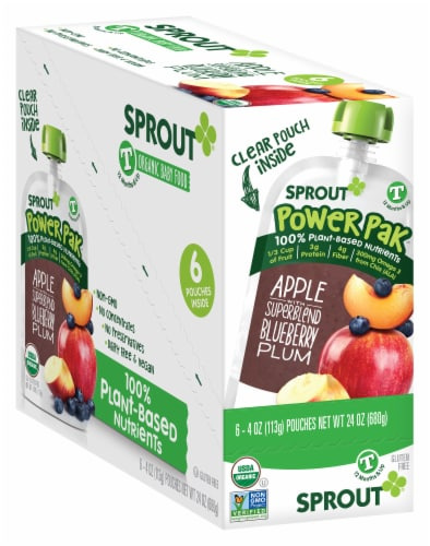 Sprout Power Pak Apple SuperBlend Blueberry Plum Stage T Baby Food Perspective: front
